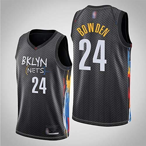 HS-XP NBA New Temporada Baloncesto Jersey Jersey Chalecos Camisetas Brooklyn Nets # 24 Bowden/Training Jerseys Sweatshirts para Hombres Adolescentes,Negro,XXL(185~190cm)