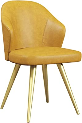 LJFYXZ Modern Design Dining Chairs Home Desk Chair Artificial Leather seat Kitchen Furniture Backrest Lounge Chair Metal Frame 52x52x92cm (Color : Yellow)