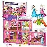 KUNEN Casa de muñecas con Accesorios y mobiliario incluidos y 2 Niveles de Juego,Regalos de cumpleaños para niños