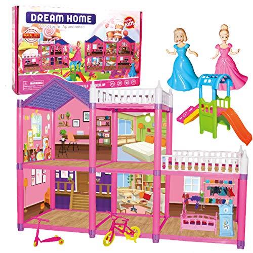 KUNEN Casa delle Bambole Sogno per Bambina Giocattolo dei Bambini 2 Piani con Mobili e Accessori,Casa Barbie Miniatura Giocattoli Regalo di Natale per Ragazza