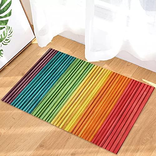 Felpudo de bienvenida de grano de madera arcoíris, alfombras antideslizantes para cocina, baño, sala de estar, dormitorio, alfombra, decoración moderna para el hogar, se puede personalizar sin marco