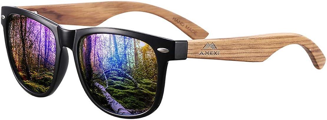 AMEXI Gafas de sol de madera para hombres y mujeres polarizadas UV400 CAT 3 CE con estuche, tela y bolsa