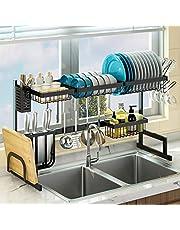 رف تجفيف الصحون فوق الحوض لمستلزمات المطبخ ومنظم الاواني من الستانلس ستيل