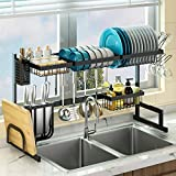 Over Sink(24'-40') Dish Drying Rack, Adjustable Large Dish Drainer for Kitchen Storage Counter Organization, 2 Tier Stainless Steel Over Sink Dish Rack Display (Black, 24≤Sink Size≤40inch)