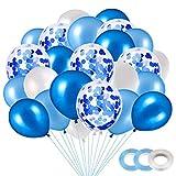 Globo Azul Metalizado, 40 Piezas Globos Blancos, Globo Confeti, Globos de Fiesta, Globos de látex Blancos, Globos de Helio Perla, para Decoraciones de cumpleaños (Azul)