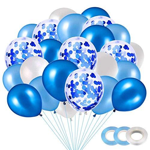 BluVast 40 Pezzi Palloncini Azzurri, Palloncini Battesimo Bambino,Palloncini Bianchi,Party Balloon per Matrimonio, Compleanno, Baby Shower, Laurea, Cerimonia Party Decorazioni (12 Pollici)