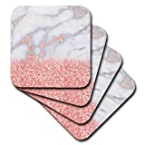 pink accent gems - 3dRose Chic Trendy Girly Pink Blush Rose Gold Glitter Gemstone Marble Ceramic Tile Coasters (Set of 4)