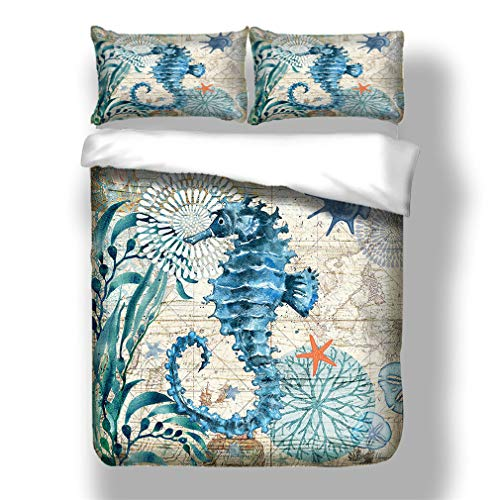 Duvet Cover Set Underwater World Bedding Set 3D Print Sea Animals Marine Life Microfiber Comforter Cover with 1/2 Pillow, Ocean Themed Coral Print, with Zipper (Hippocampus,Double)