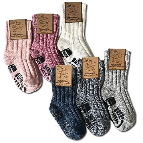 your+ ABS Kinder Norwegersocken - 3er Pack Gr. 23-26 warme Wintersocken Haussocken 40% Wolle...