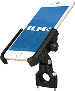 "ILM Upgraded Bike Motorcycle Phone Mount Aluminum Bicycle Cell Phone Holder Accessories Fits iPhone X Xs 7 7 Plus 8 8 Plus iPhone 6s 6s Plus Galaxy S7 S6 S5 Holds Phones up to 3.7"" Wide (Black)"
