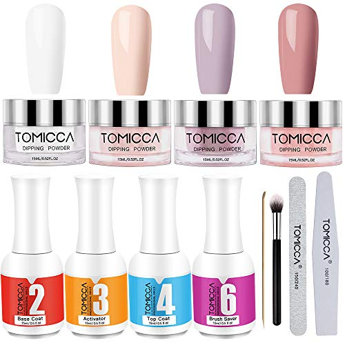 TOMICCA Dip Powder Nail Kit 4 Colors Colori, Dipping Powder Kit Polvere Acrilico per No Need UV/LED lamp, Facile per il manicure unghie fai-da-te. (Pink Series Serie rosa)