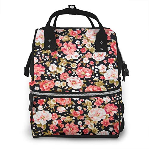 Red Pink White Yellow Roses Diaper Backpack Travel Baby Napp