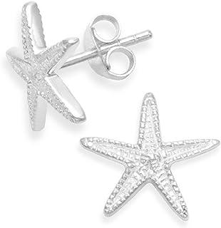 Pendientes de plata de ley con diseño de estrella de mar de Heather Needham, tamaño: 10 mm, en caja de regalo 5144