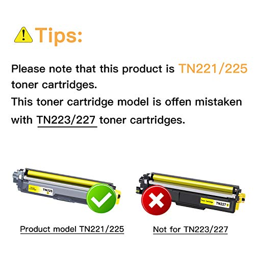 E-Z Ink (TM) Compatible Toner Cartridge Replacement for Brother TN221 TN225 to Use with HL-3140CW HL-3170CDW HL-3180 MFC-9130CW MFC-9330CDW MFC-9340CDW (1 Black, 1 Cyan, 1 Magenta, 1 Yellow) 4 Pack