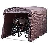 山善 サイクルガレージ (幅157×奥行220×高さ158cm) 自転車3台用 ブラウン YSG-1.0