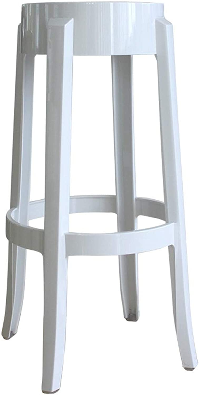LRW Plastic Stools, Thickened Acrylic Chairs, Stools, Chairs, High Stools, High Stools, White