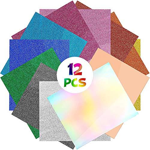 WATINC 12Pcs Glitzer Wärmeübertragung Transfer Papier Vinyl Set DIY HTV Glitter Transferpapier für T-Shirts Silhouette Cameo Hitzepresse Vinylfolie Gift Geschenk Dekoration für Stoff Hüte Kleidung