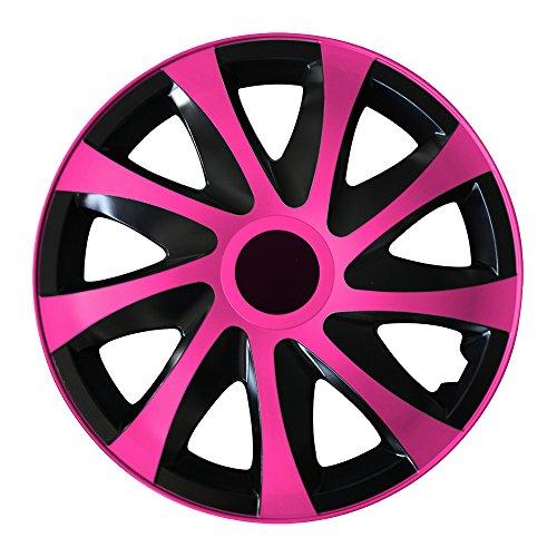(Farbe & Größe wählbar) 15 Zoll Radkappen, Radzierblenden Draco Bicolor (Schwarz/Pink) passend für fast alle Fahrzeugtypen (universal)