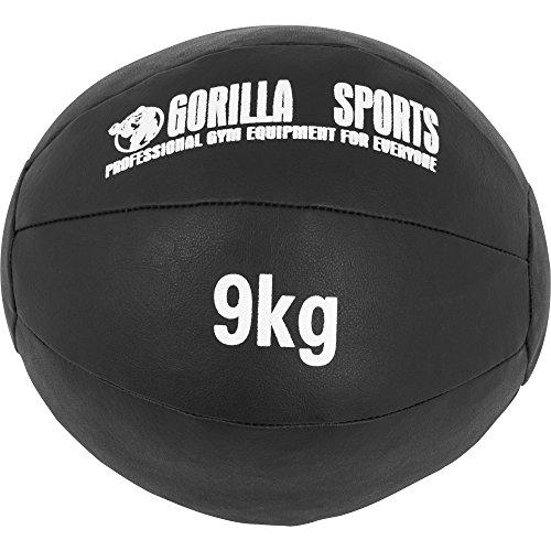GORILLA SPORTS® Medizinball Kunstleder Schwarz 9 kg