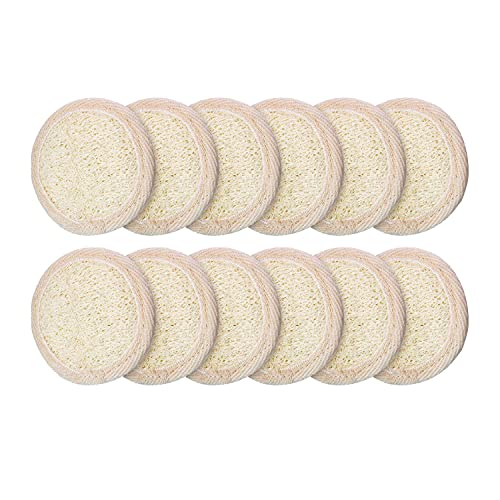Tashido 12 unidades exfoliantes Loofah Pad exfoliante corporal redondo baño ducha Loofah esponja esponja exfoliante natural descrubber Brush