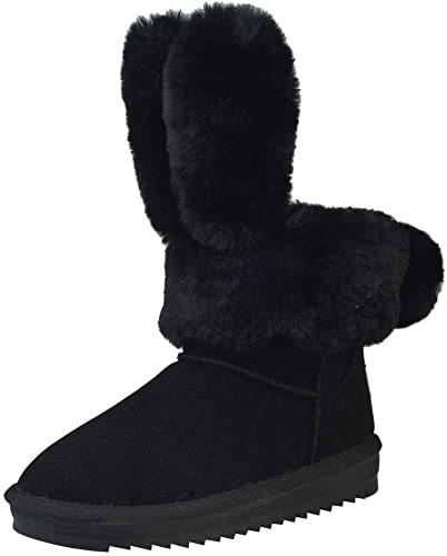 ZHRUI Stiefel de damen schuhe Botines de damen Orejas de   Plegables con Estilo schuhe Casuales schuhe cálidos Botines de Felpa Stiefel de Invierno (Farbe   schwarz, tamaño   41 EU)