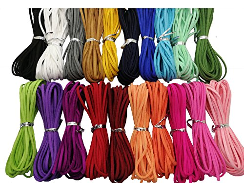 100 Yards 20 Bundles 2.6mm Suede Leather Cords Leather Lace Flat Faux Suede Cord String Thread Velvet Cord for Necklace, Bracelet, Beading and DIY Crafts (Color-2) #205