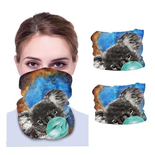 Máscara facial Bandana para cubierta de polvo juguetón Koala oso con burbuja Gum Diadema cuello polaina 2 piezas