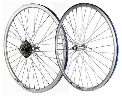 wheelsON 700c Front Rear Wheel Set Mountain Bike/Hybrid + 7 Speed Freewheel 36H Silver