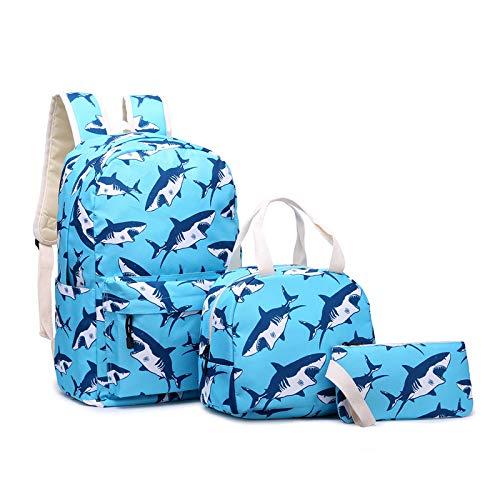 Shark Pattern Backpack, Student School Bags Lunch Bag Pencil Case Three-Piece Set Bookbag for Boys Animal Packs