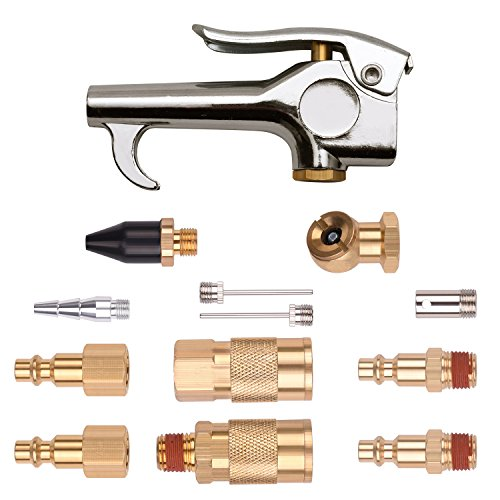 WYNNsky 1/4' NPT Air Blow Gun and Brass Air Accessory Kit, Air Compressor Connect Coupler/Plug - 13 Piece Air Tools Kit
