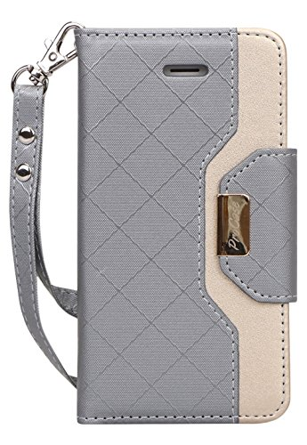Procase iPhone SE / 5S Case Cover, Wallet Flip Case, with Wristlet Strap, Build-in Card Slots and Mirror, Stylish Slim Stand Cover for Apple iPhone SE / 5S (Grey)