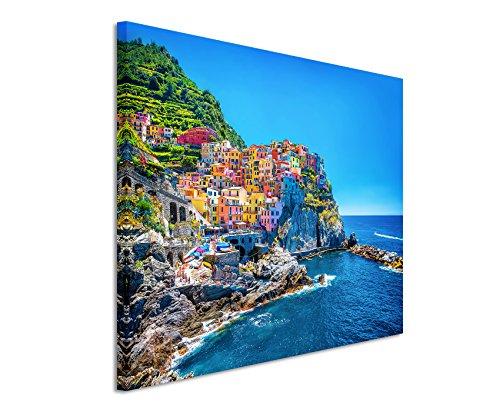 Paul Sinus Art XXL Fotoleinwand 120x80cm Landschaftsfotografie – Farbenfroher Hafen, Cinque Terre, Italien auf Leinwand Exklusives Wandbild Moderne Fotografie für ihre Wand in vielen Größen