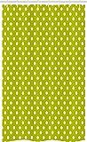 ABAKUHAUS Retro Schmaler Duschvorhang, Limone Vintage Polka Dots, Badezimmer Deko Set aus Stoff mit Haken, 120 x 180 cm, Lindgrün & Weiß
