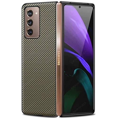 Miimall Hülle für Samsung Galaxy Z Fold 2 5G, Einzigartiges Muster Leder Handyhülle mit PC Bumper Schutz Hülle Kratzfeste Stoßfeste Abdeckung Hülle für Samsung Galaxy Z Fold2 5G 2020 - Gold