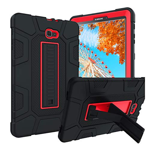 Galaxy Tab A 10.1 2016 Case SM-T580 T585 T587 GUAGUA Kickstand 3 in 1 Hybrid Hard Heavy Duty Rugged Shockproof Protective Anti-Scratch Tablet Case for Samsung Galaxy Tab A 10.1 2016 Black/Red