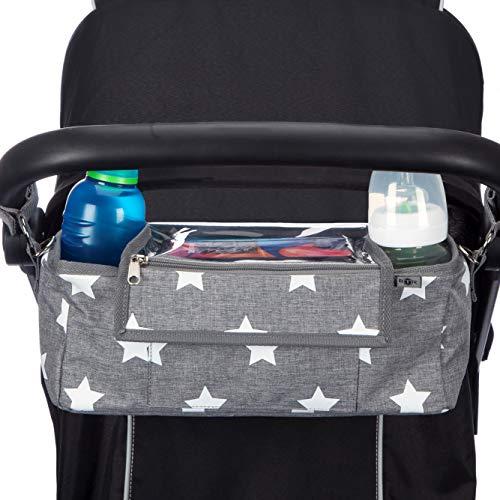 BTR Buggy Organiser Pram Bag with Waterproof Raincover & Phone Pocket & 2 x Pram Hooks. Grey with White Stars. Recyclable Packaging