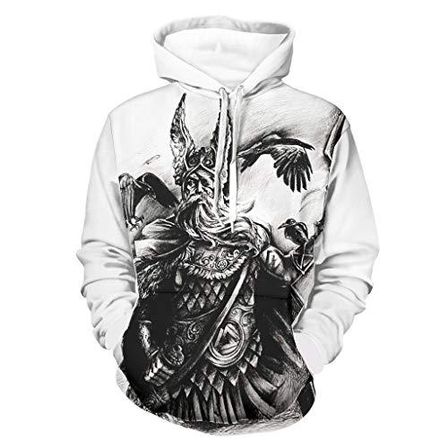 Shinelly Wikinger Odin Rüstung Krieger Zwei Rabe Druck Herren Kapuzenpullover Fantasie Lange Ärmel Kapuzenpullover mit Taschen Sportoberteile White 4XL