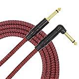 TISINO Cable de guitarra, 6.35mm TS ángulo recto a recto guitarra instrumento cable para guitarra eléctrica, bajo, amplificador, teclado, mandolina - rojo 3m