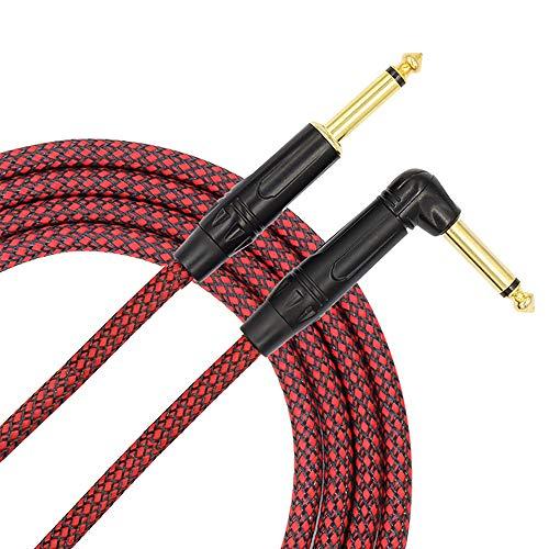 Tisino Gitaar Instrument Kabel 10ft 1/4 inch Recht naar Rechts Hoek Bass Kabel Koord - Rood
