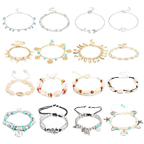 Jstyle 16Pcs Anklets for Women Silver Gold Ankle Bracelets Set Layered Beach Adjustable Anklet Handmade Shell Foot Jewelry