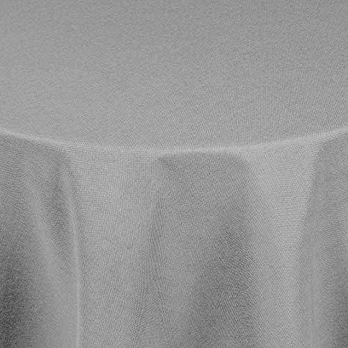 DecoHomeTextil Leinen Optik Tischdecke Tischtuch Tafeldecke Leinendecke Abwaschbar Wasserabweisend Oval 160 x 260 cm Hellgrau Fleckschutz Pflegeleicht mit Saumrand Leinentuch