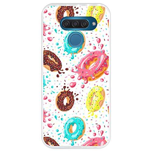Telefoonhoesje voor [ LG K50 - Q60 ] tekening [ Patroon van donuts met chocolade en gekleurde hagelslag ] Transparant TPU flexibele siliconen schaal