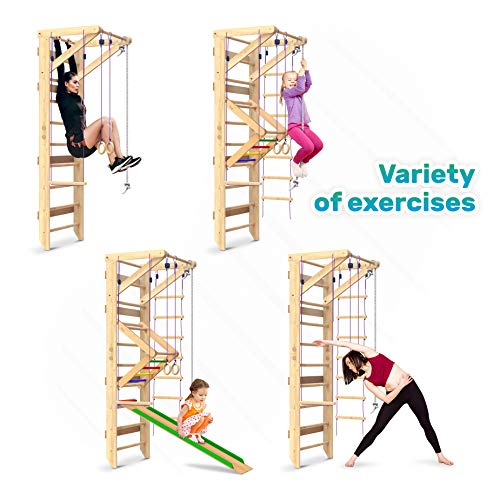 Wooden Swedish Ladder Wall Set – Kids Stall Bars for Exercise – Kids Swedish Gymnastic Wall Gym – Wood Stall Bar Gymnastics Playground – best Gym for all family all ages training stretching – Sport-3