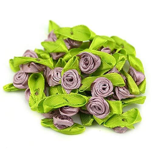 100st kunstmatige mini zijde rozetten stof bloemen hoofden maken handgemaakte satijnen lint rozen diy ambachtelijke voor bruiloft decoratie, bruin