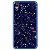 Hapdey Funda Azul para [ Bq Aquaris E5s - E5 4G ] diseño [ Patrón de constelación, Galaxia ] Carcasa Silicona Flexible TPU