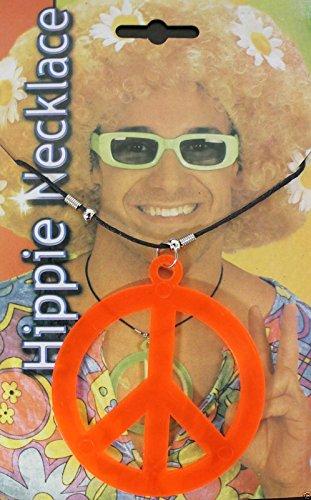 New Adults Peace Sign Hippie colour Necklace Pendant Necklace Fancy Dress Accessory (Orange)