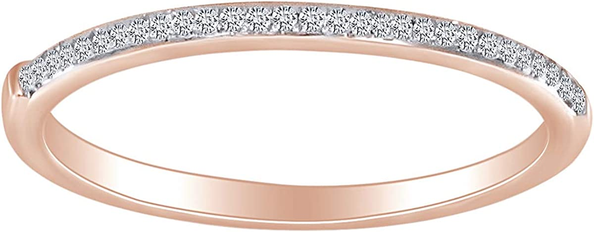 1/15 Carat CT Round White Natural Diamond Accent Half Eternity Anniversary Bridal Wedding Band Ring For Womens 10k Solid Gold (I-J Color, I2-I3 Clarity 0.06 Cttw)
