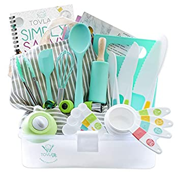 Tovla Jr Kids Cooking and Baking Gift Set with Storage Case - Complete Cooking Supplies for the Junior Chef - Kids Baking Set for Girls & Boys - Real Accessories & Utensils for the Curious Child