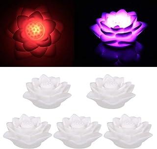 OSALADI 10pcs Floating Lotus Lights LED Lotus Flower Lamp Lily Flower Candle Light Night Light for Pool Garden Fish Tank D...