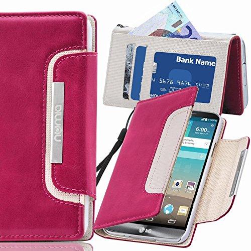numia LG G4C Hülle, Handyhülle Handy Schutzhülle [Book-Style Handytasche mit Standfunktion & Kartenfach] Pu Leder Tasche für LG G4C Hülle Cover [Pink-Weiss]